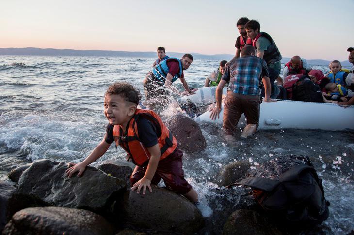 Refugiados en las costas de Lesbos, Grecia