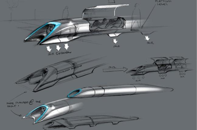 Dibujos de concepto del Hyperloop
