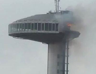 Arde el Faro 'maldito' de Moncloa