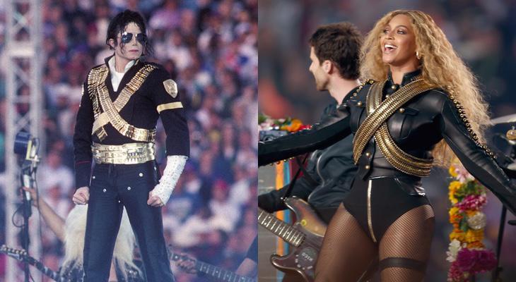 Michael Jackson en la Super Bowl de 1993 y, Beyoncé, en la de 2016