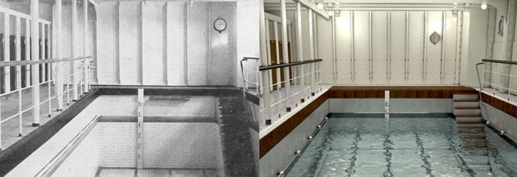 La piscina de 1912 vs a la de 2018