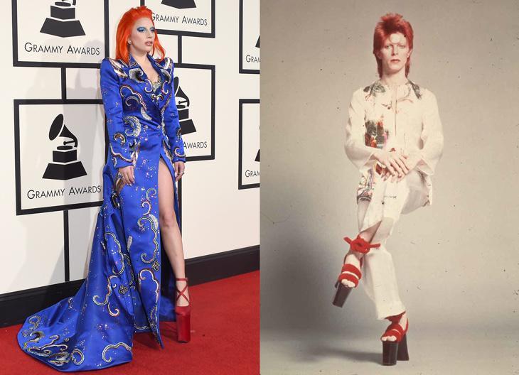 Lady Gaga apareció con unas plataformas como las de Bowie en 1973