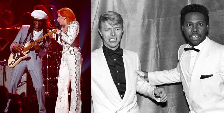 Nile Rodgers junto a Lady Gaga y David Bowie en los 80