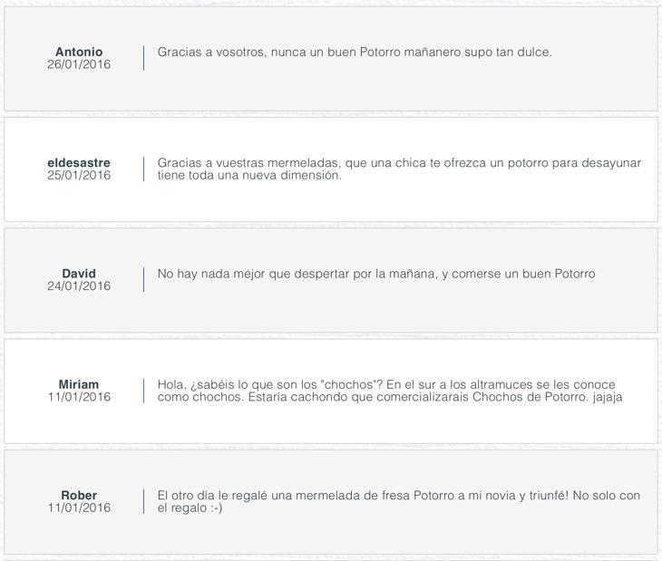 Los comentarios en la web de Potorro no dejan ninguna duda