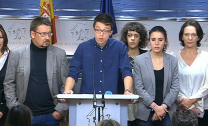 Errejón ha anunciado la ruptura de las negociaciones en rueda de prensa