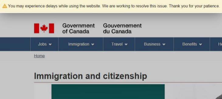 La web del gobierno de Canadá, bloqueada