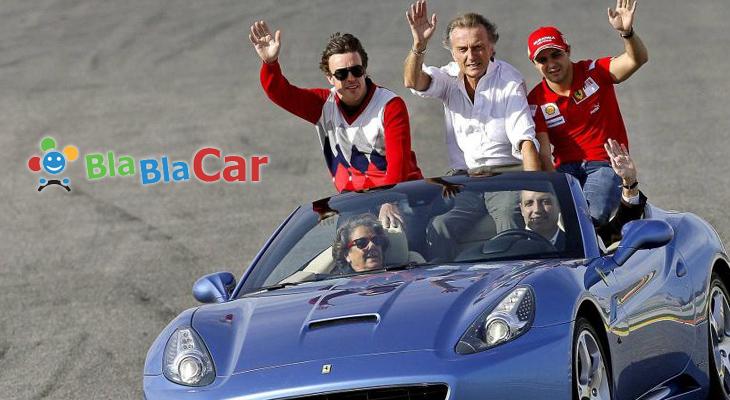 Rita compartiendo coche en la Fórmula 1