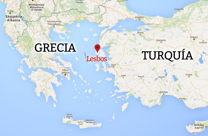 La isla de Lesbos, a cinco kilómetros de Turquía
