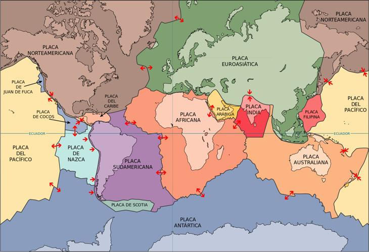 Mapamundi de las placas tectónicas (USGS, Wikimedia)