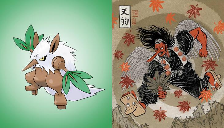Shiftry y su homólogo mitológico japonés Tengu