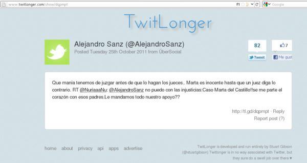 ¿Quién usaba TwitLonger? Solamente Alejandro Sanz al parecer.