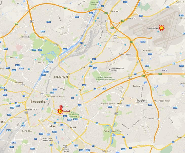 Mapa de los atentados ocurridos hoy en Bruselas
