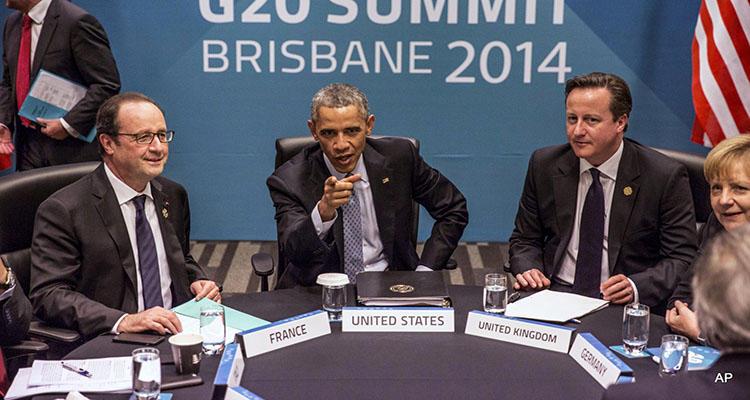 Hollande, Obama, Cameron y Merkel en la reunión del G20 en 2014
