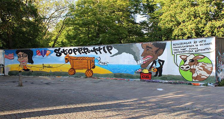 Pintada en Suecia contra el TTIP
