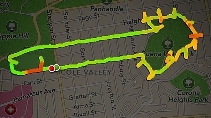 Aquí os tenéis que imaginar muy fuerte que esta ruta hecha por un runner tiene forma de delfín y NO DE OTRA COSA