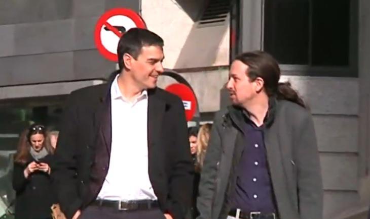 Pedro Sánchez y Pablo Iglesias llegan al Congreso para la reunión