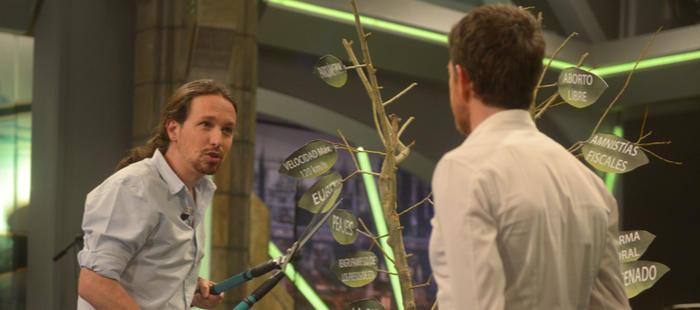 Pablo Iglesias podando el árbol de España en 'El Hormiguero'