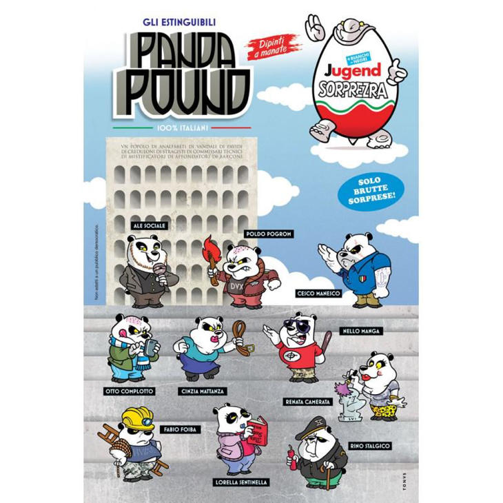 El cómic también incluye imágenes de los CasaPound caricaturizados como los 'Panda Pound'