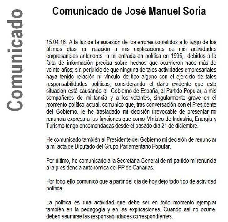 Comunicado de José Manuel Soria