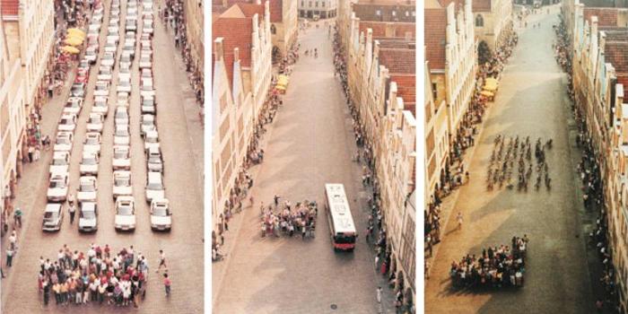 Cuánto ocupan las mismas personas moviéndose en coche y en bicicleta