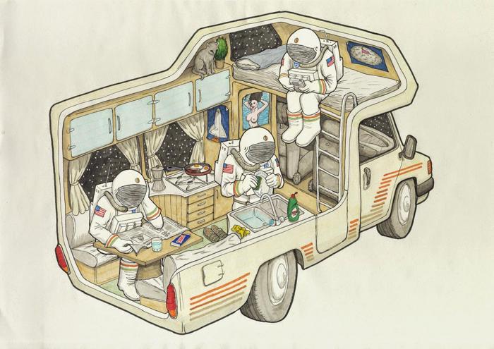 Tres astronautas en una caravana