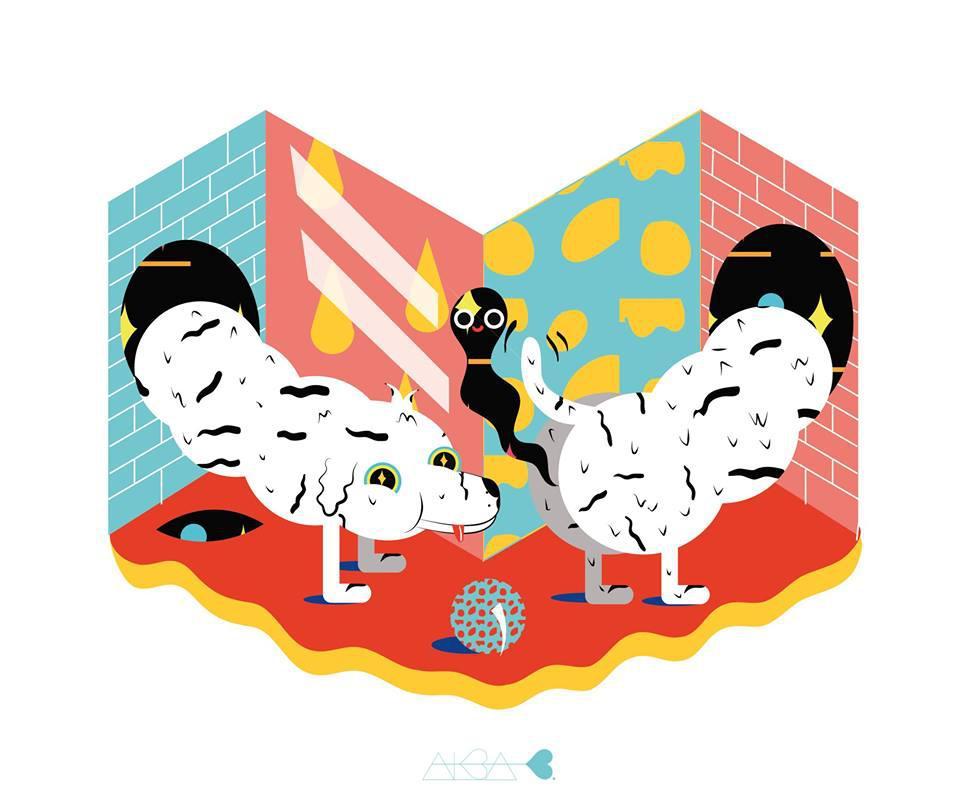 Una de las ilustraciones de pop surrealista de Alba Blázquez