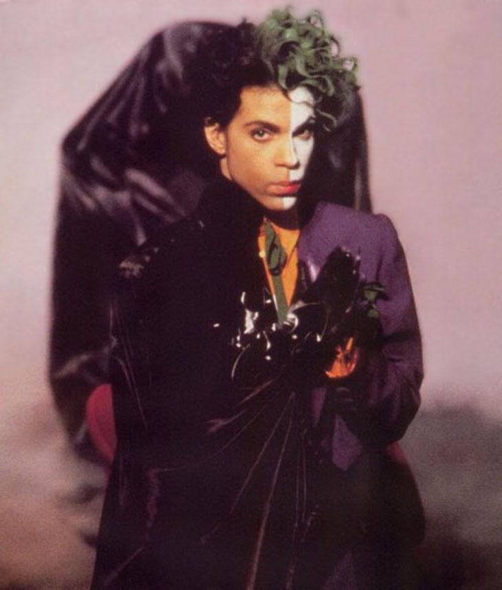 Prince marcándose un Dos Caras con el Joker y Batman.