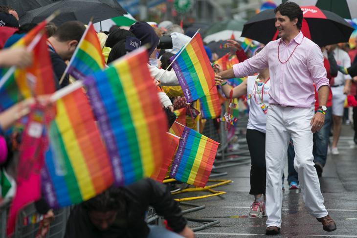 Trudeau en el Orgullo Gay de Toronto en 2015