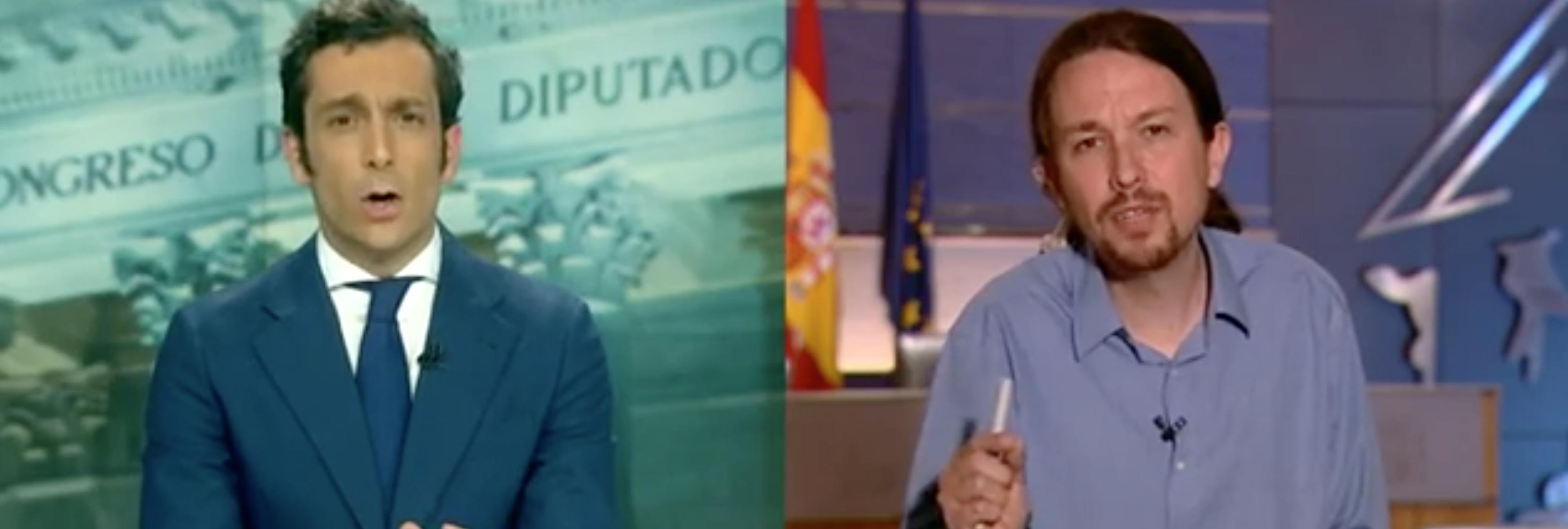 'Enganchón' en directo de Pablo Iglesias y Antena 3 Noticias por la visita de Otegi al Parlamento Europeo