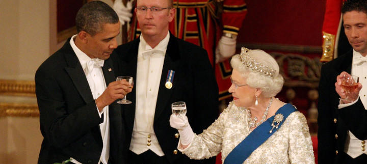 Isabel II y Barack Obama