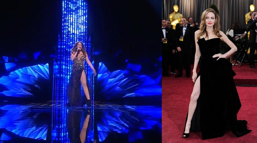 Angelina representando a #MLT y Timberlake a punto de actuar. ¡Los yankees nos invaden!