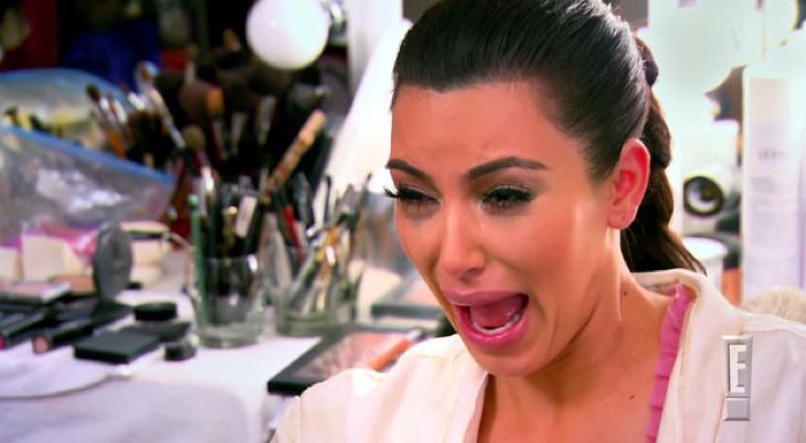 Kim Kardashian llorando porque ha sido descubierta