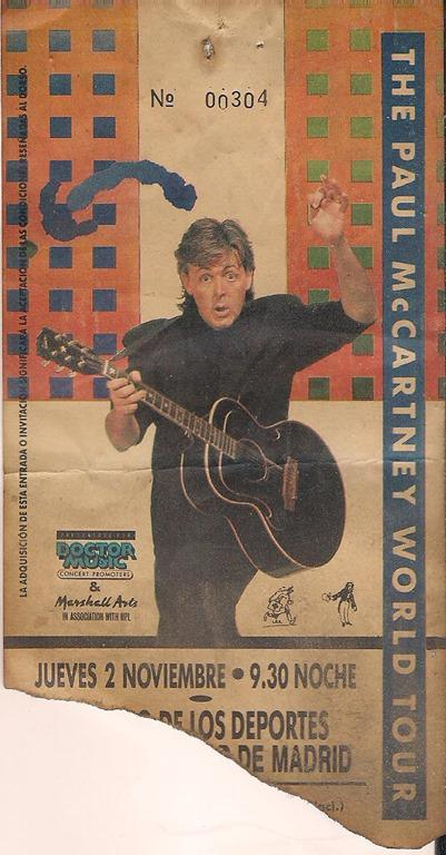 La entrada del concierto de Paul McCartney en 1989