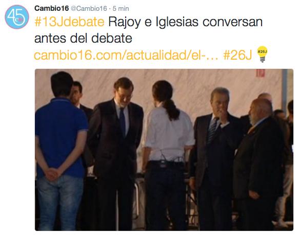 ¡Ya están Rajoy e Iglesias haciéndole la pinza a la formación del gobierno! #Debate13J