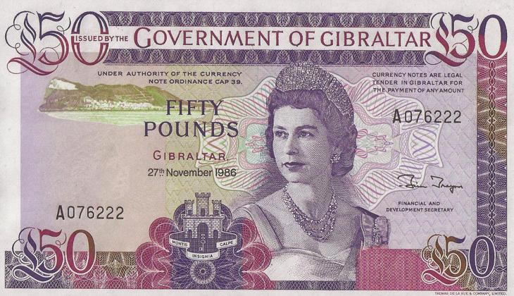 Un billete de 1986 de Gibraltar con la cara de Isabel II