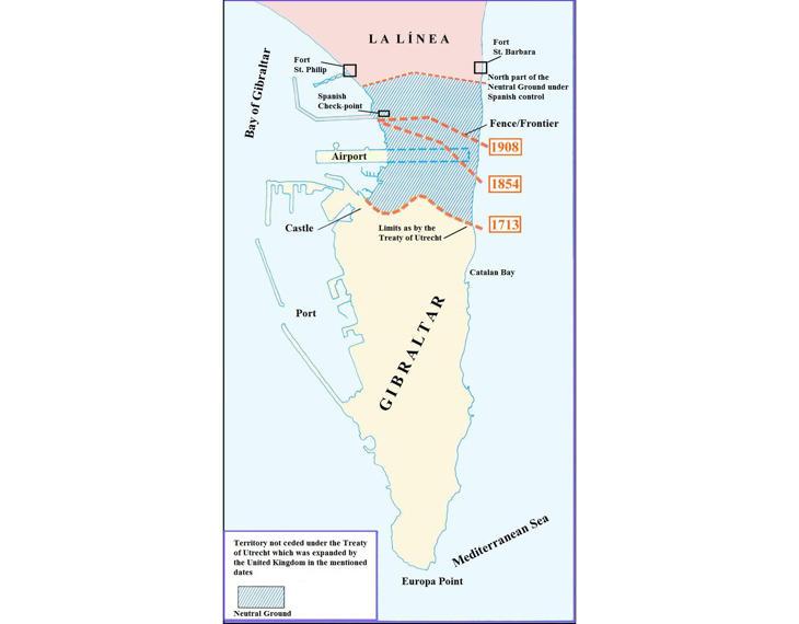 El mapa de Gibraltar y La Verja
