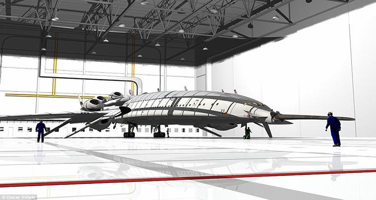 Prototipo del avión aterrizado, que cuenta con una forma aerodinámica