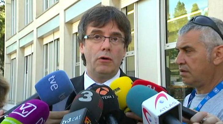 Carles Puigdemont declarando elste miércoles. Foto: ETB