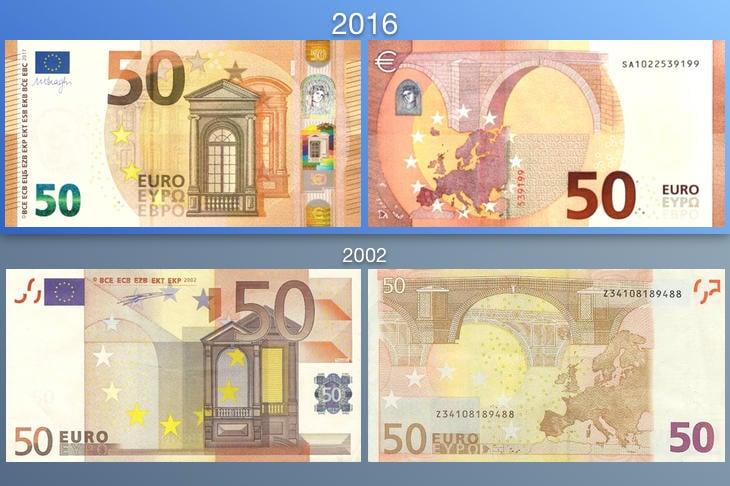 Los nuevos billetes de 50 euros vs los antiguos