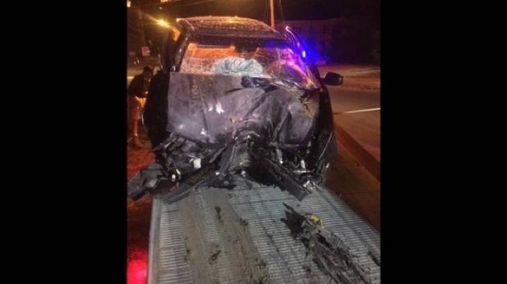 Así quedó el coche accidentado