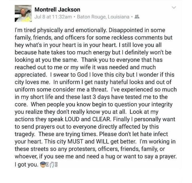 El agente Jackson había mostrado su preocupación por la tensión con la policía