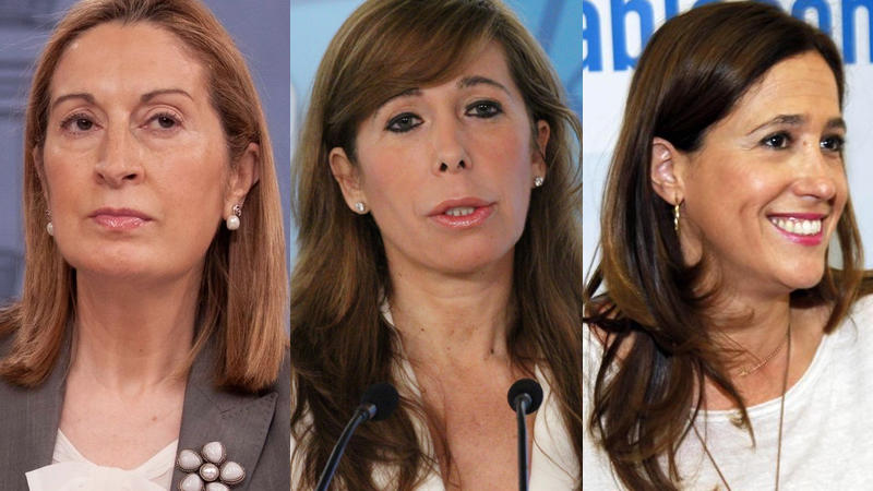 Miembros del PP que ocuparán la Mesa del Congreso: Ana Pastor (Presidenta), Alicia Pérez Camacho y Rosa Romero, con la salida de Celia Villalobos.