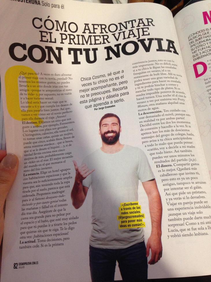 Jorge Cremades da consejos de vacaciones en Cosmopolitan
