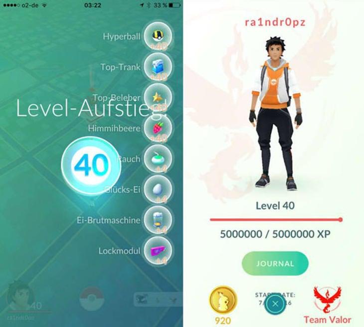 40 es el nivel máximo de 'Pokémon Go'