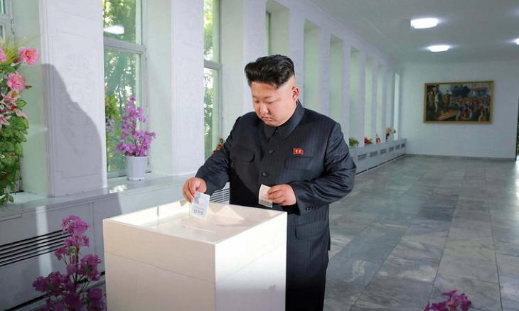 Kim Jong-un votando