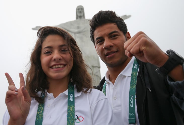 Yusra Mardini y Rami Anis, atletas sirios del equipo de refugiados