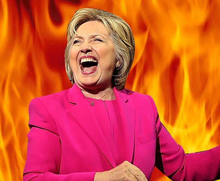 Hillary Clinton pensando en planes malignos