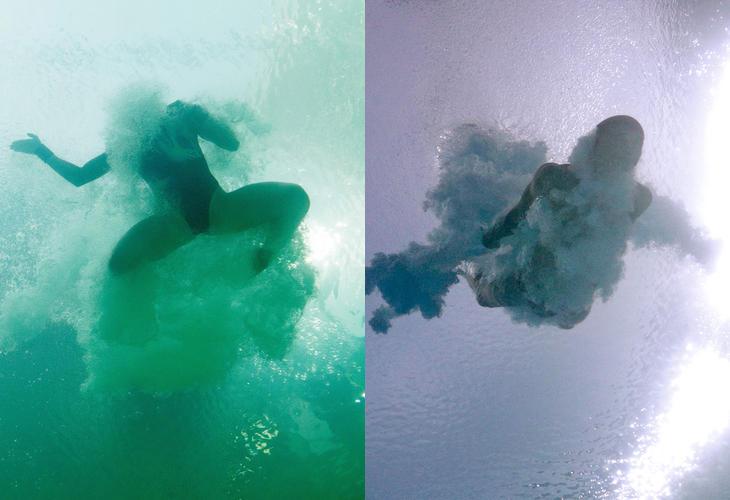 La diferencia del color del agua, desde dentro