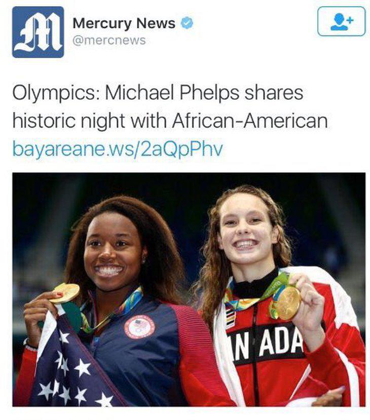 'Michael Phelps comparte una histórica noche con una afroamericana'