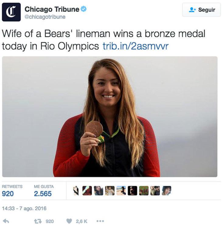 'La mujer del lateral de los Bears gana una medalla de bronce hoy en los Juegos Olímpicos'
